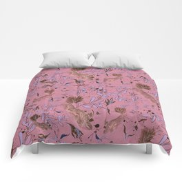Pink fish pond Comforters