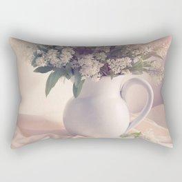 Still life with white privet flowers Rectangular Pillow
