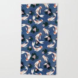 Japanese carps Beach Towel
