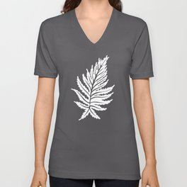 Inked Ferns – White Ink on Black Unisex V-Neck