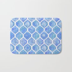 Cornflower Blue Moroccan Hand Painted Watercolor Pattern Bath Mat