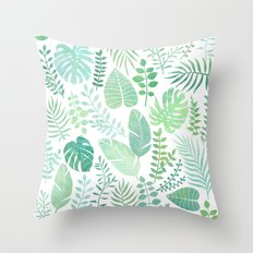 Green tropical leaves pattern Throw Pillow