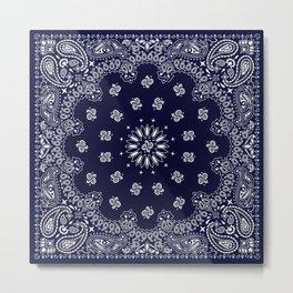Paisley - Bandana - Navy Blue - Southwestern - Cowboy Metal Print
