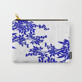 BLUE AND WHITE  TOILE LEAF Carry-All Pouch
