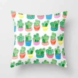 Cacti in fancy pots with smily faces. Throw Pillow