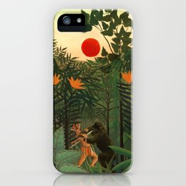 """Henri Rousseau """"Tropical Landscape - subtitled An American Indian Struggling with a Gorilla"""" iPhone Case"""