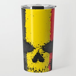 Flag of Belgium on a Chaotic Splatter Skull Travel Mug