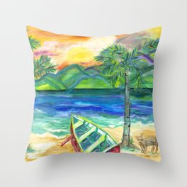 Artie the Island Dog's Red Boat Throw Pillow