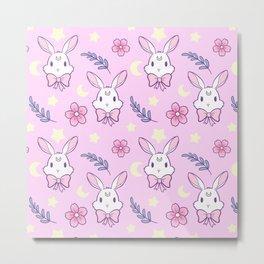 Sakura Bunny // Pink Metal Print