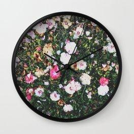 Golden Hour Flowers Wall Clock
