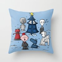 charlie brown Throw Pillows featuring A Charlie Who Christmas by fishbiscuit