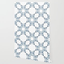 Blue Floral Heart Tile Wallpaper