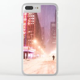 Snowstorm in New York City Clear iPhone Case