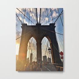 Walking the Brooklyn Bridge Metal Print