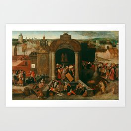 "Pieter Bruegel (also Brueghel or Breughel) the Elder ""Christ Driving the Traders from the Temple"" Art Print"
