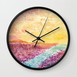 Magical Sunset Watercolor Illustration Wall Clock