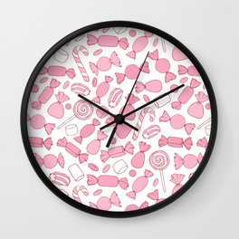 Pink Candies Pattern Wall Clock