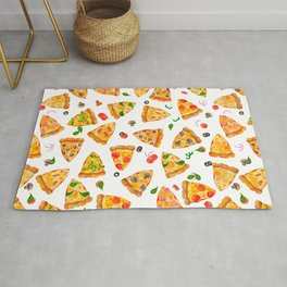 Watercolor Pizza Fast Food Pattern Rug