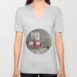 Coffee, Tea or Flowers Vignette Unisex V-Neck