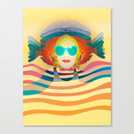 Swimming on Yellow Canvas Print
