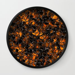 Ancient Amber Tiles Set in Gothic Metal Wall Clock