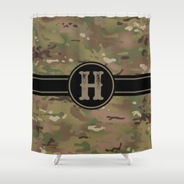 Camouflage Monogram: Letter H Shower Curtain