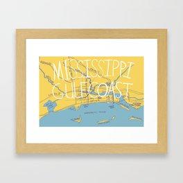 Mississippi Gulf Coast Map Framed Art Print