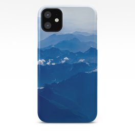 AERIAL PHOTOGRAPHY OF MOUNTAIN UNDER CLEAR BLUE SKY iPhone Case