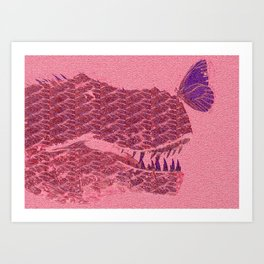 Dinosaur Butterfly Vintage Oil Art Print