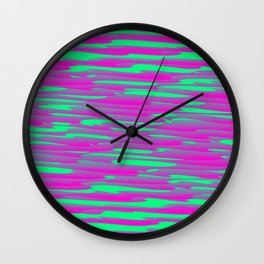 Running luxury pink of art waves and green highlights. Wall Clock