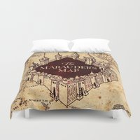 marauders Duvet Covers featuring MARAUDERS MAP by Graphic Craft
