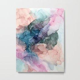 Heavenly Pastels 2: Original Abstract Ink Painting Metal Print