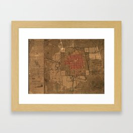 Vintage Map of Mexico City Mexico (1800) Framed Art Print