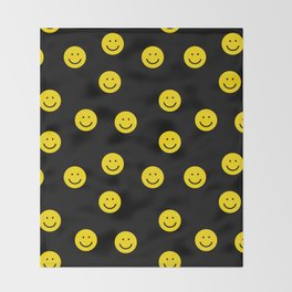 Smiley faces yellow happy simple rainbow colors pattern smile face kids nursery boys girls decor Throw Blanket