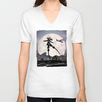 jack skellington V-neck T-shirts featuring Jack Skellington Kid by Andy Fairhurst Art