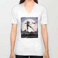 jack skellington V-neck T-shirts featuring Jack Skellington Kid by Andy Fairhurst Art