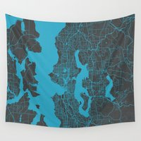 seattle Wall Tapestries featuring Seattle map by Map Map Maps