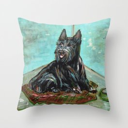 Scottish Terrier with Water Bowl Throw Pillow