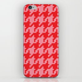 Houndstooth - Pink & Red iPhone Skin