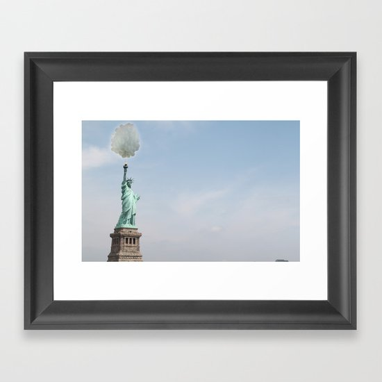 Lady liberty balloons Framed Art Print