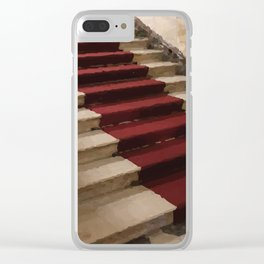 Stairs with red carpet Clear iPhone Case