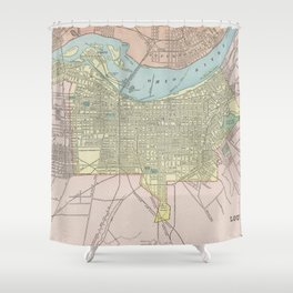 Vintage Map of Louisville KY (1901) Shower Curtain