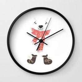 Christmas cute bear. Winter design illustration Wall Clock
