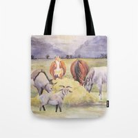 thanksgiving Tote Bags featuring Thanksgiving by LaurelAnneEquineArt