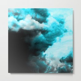 Relaxed - Cloudy Abstract In Blue And Black Metal Print