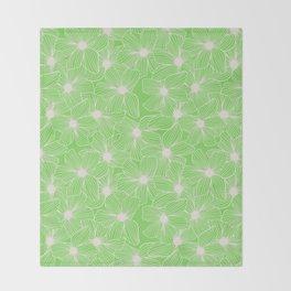 02 White Flowers on Green Throw Blanket