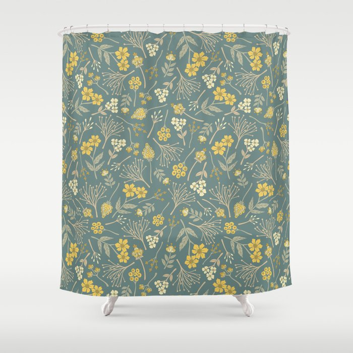 Yellow Cream Gray Tan Blue Green Floral Pattern Shower Curtain