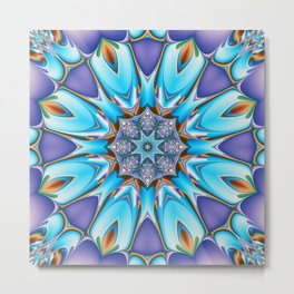 Whimsical bloom in blue, purple and orange Metal Print