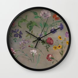 Studies of Flowers by Jacques-Laurent Agasse, 1848 Wall Clock