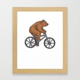 Bear On A Bike Funny Fitness Gift for Bear Lover Framed Art Print